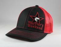 Structured Star Mesh Back Cap - Black/Red