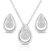 Sterling Silver & .075TWWT Diamond Teardrop Earrings & Necklace Set
